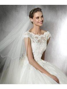 2016 A-linie Romantische Traumhafte Brautkleider aus Softnetz mit Applikation
