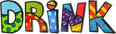 "DRINK Word Art for Table Top or Wall by Romero Britto by Romero Britto. $99.96. Letters are individually gift boxed in Britto box.. Polystone Sculpture for Table Top or Wall. Custom Word arranged by Picky Picky me. Romero Britto. Thirsty? You won't be when you're able to label your bar with this DRINK word art. This art can be used as a table decoration or wall hanging. Each letters average size is 5""H x 6""W x 1""D."