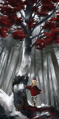 Baba Yaga 2 by júlia sardà. Vasalisa se adentra en el bosque para encontrar a la bruja y pedirle el fuego.    Hay un par de ilustraciones que no son claves (esta es una de ellas), podria haver elegido momentos mas representativos, pero el tema niña-bosque me gusta mucho y no podia evitarlo.