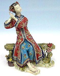 Les couleurs joyeuses :  Lady Shiwan Lady Figurine en porcelaine de Chine
