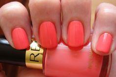 Revlon Tropical Temptation nail polish with Loreal Greycian Goddess done in a chevron pattern.