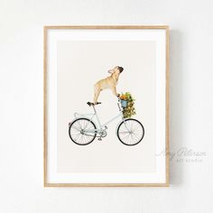 French Bulldog on a Bicycle Art Print, Animal Whimsy Art, Whimsy Animal Wall Art, Funny Dog Wall Art by Amy Peterson Bicycle Decor, Bicycle Art, Bicycle Design, Online Printing Services, Dog Art, Art Studios, Printable Wall Art, Canvas Art Prints, Framed Art