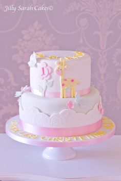 Sweet giraffe cake - would be so cute for a baby girl's shower!: