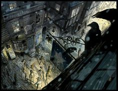 Love the vantage point of the black birds. Jonathan Strange & Mr Norrell - The Old Starre Inn by Jim Kay