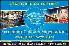 Just a few weeks away! Get entry to this year's International Restaurant & Foodservice Show. Visit us at booth 2021. Just Fill out this form > http://intlrestaurantshowinvitations.com/ereg.php?DiscountCode=DGP22