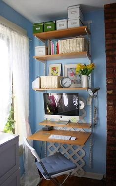 Create a dual home office space with this great budget friendly idea… using a standard bookcase, a table top and two sets of legs, an office space for two is created!