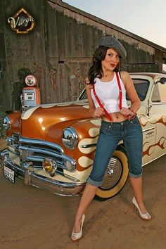 Hot Rod Girl in suspenders- I want to re-create this look it is awesome