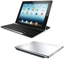 This sleek aluminium cover with built-in Bluetooth keyboard is the perfect complement to your iPad.