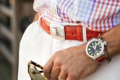Love the belt and shirt (both by Peter Millar) and, of course, the wrist swag.