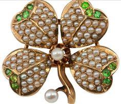 demantoid and pearl clover brooch