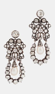 A PAIR OF ANTIQUE DIAMOND AND PEARL EARRINGS, 19TH CENTURY. Set with two pear-shaped pearls and old-cut diamonds.