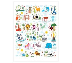 Baby alphabet poster has each letter accompanied by a colorful illustration of a super cute animal and a popular world landmark - lion, fox, Eiffel Tower, Statue of Liberty