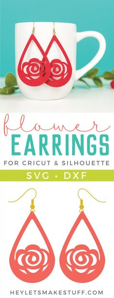 Make a statement with these stylish Faux Suede Flower Earrings Pick your favorite color and use your Cricut to bring the design to life Perfect for Mothers Day or as a gi. Diy Earrings, Leather Earrings, Flower Earrings, Leather Jewelry, Leather Craft, Gold Earrings, Fabric Earrings, Bridal Earrings, Armband Diy