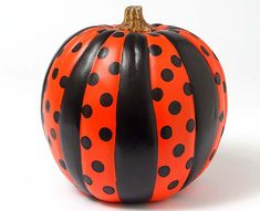 Craft Painting - Stripes and Polka Dots Pumpkin