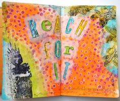 Step-by-step photos of this art journal page for Nathalie Kalbach's What's The Point Blog Hop - Carolyn Dube