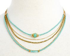 One Kings Lane - The Romantics - Teal Seed Shimmer Trio w/ Opal Necklace