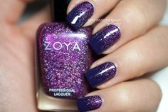 Reverse Purple Glitter Gradient from My Awesome Beauty featuring Zoya Nail Polish in Aurora and Zoya Pinta.