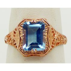 Edwardian Revival Filigree Rose Gold Ring