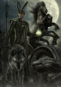 LOKI - The Hell'S CHILDREN by ~tomzj1 on deviantART - How do you have a piece of art titled hell's children and not have Hel?!