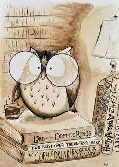 Coffee Owl Print Book Nerd by TheCoffeeTree on Etsy Coffee And Books, I Love Coffee, Coffee Art, Owl Coffee, Coffee Break, Morning Coffee, Coffee Life, Coffee Lovers, Sunday Morning