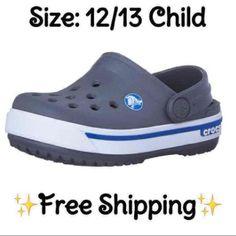 a17e8c580587 ⭐NEW⭐CROCS Crocband Charcoal   Sea Blue Clog 12 13 Child