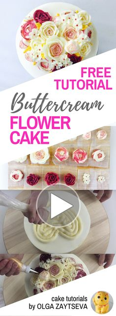 HOT CAKE TRENDS How to make Valentine's Day buttercream flower cake - Cake decorating tutorial by Olga Zaytseva. Learn how to pipe variety of roses and create this heart shaped buttercream flower bouquet cake for Valentine's Day celebration. #cakedecoratingtips