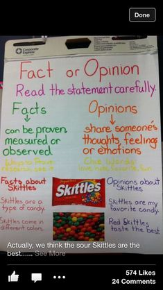 Fact and opinion with candy wrappers... I think I will save some Halloween candy wrappers and do this next week.