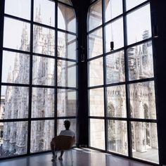 The view from the ceiling to floor windows of the Museo del Novecento in Milan, Italy [1280x1280] - Interior Design Ideas, Interior Decor and Designs, Home Design Inspiration, Room Design Ideas, Interior Decorating, Furniture And Accessories