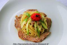 Spaghettoni con asparagi  e petto di quaglia affumicato
