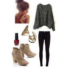 Outfit/styling idea with new tan booties. Black/dark denim and off shoulder top (I have a few to choose from) and all I need is a scarf or statement necklace and a belt    followpics.co