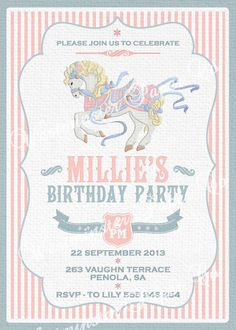 Printable pink and gold carousel invitation by PrettiestPrintShop