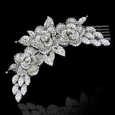 Swarovski Crystal Bridal Flower Hair Comb by Voguejewelry4u, $31.99