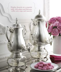 lovely silver urns - http://www.horchow.com/Godinger-Silver-Plated-Coffee-Urns-silver-urns/cprod61460029___/p.prod?icid=&searchType=MAIN&rte=%252Fsearch.jsp%253FN%253D0%2526Ntt%253Dsilver%252Burns%2526_requestid%253D21005&eItemId=cprod61460029&cmCat=search