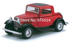 Brand New Classic 1932 Ford 3-Window Coupe Retro Car Vintage Die Cast Boys Collectible 1/34 scale Pull-Back Alloy model toy cars