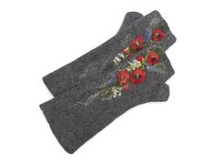 Long Felted Fingerless gloves Fingerless Mittens Arm warmers Gloves Grey Poppies