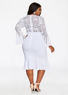Plus Size Bell Sleeve Floral Lace Top Crepe Skirt Dress African Fashion Dresses, African Dress, Fashion Outfits, Ghanaian Fashion, African Clothes, Women's Fashion, Elegant Dresses For Women, Dressy Dresses, Beautiful Dresses