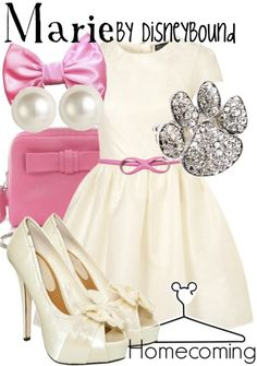 """This pink and white Disneybound outfit (pawprint ring included!! ♥) perfectly reps the sassily adorable kitten Marie from """"The Aristocats""""!! ♥"""