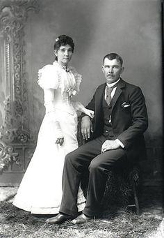 Wedding Photo (m. 02 July 1893) Charles Oliver Hinton b. 18 Jul 1868 Minnie Ann North b. 28 Jun 1871