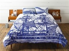 A whale for your pillows and a great ship for a duvet. I would love to sleep in those sheets.