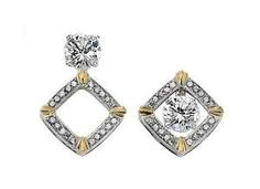 Two Tone Diamond Convertible Earrings