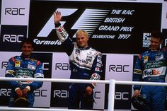 Jacques Villeneuve celebrates the 1997 British GP, the 100th GP victory for Williams in F1