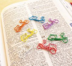 5 PCS Paper Clips Motorcycle Shaped Metal Bookmarks Cute Bookmarks-Color Random korean stationery