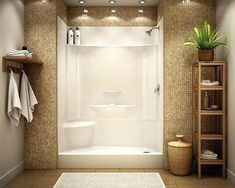 Low maintenance shower stall - prefab actual stall with pretty tile surrounding. Prefab All In One Bathroom Shower Remodel, Bath Remodel, Acrylic Shower Walls, Fiberglass Shower Stalls, Upstairs Bathrooms, Small Bathrooms, Downstairs Bathroom, Master Bathroom, Handicap Bathroom