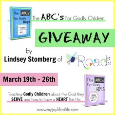 The ABCs for Godly Children Giveaway; ends 3/25