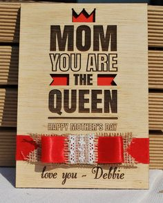 personalized gift wood card mother's day ribbon by WoodYourDay