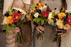 Autumn Fall wedding bouquets, like but the stems are too messy for me, would prefer at least some of it wrapped and them shorter