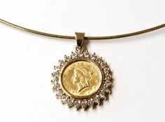 Janet Deleuse Designer Jewelry, diamond Coin Pendant on gold wire, one only www.deleuse.com free shipping