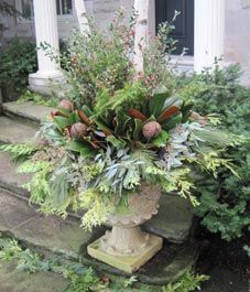 winter planters, wet sand or soil in base