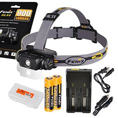 Fenix HL55 900 Lumens Rechargeable Headlamp with two Genuine Fenix 3400mAh 18650 Batteries, a Two Channel Universal Charger, Car Adapter and LumenTac Battery Organizer -- Click image to review more details.
