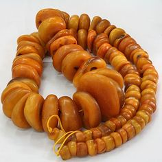 African Trade Beads | Large Baltic natural amber beads which were traded into Yemen and Africa | c. 100 - 300 yrs old. ancient-beadart.com